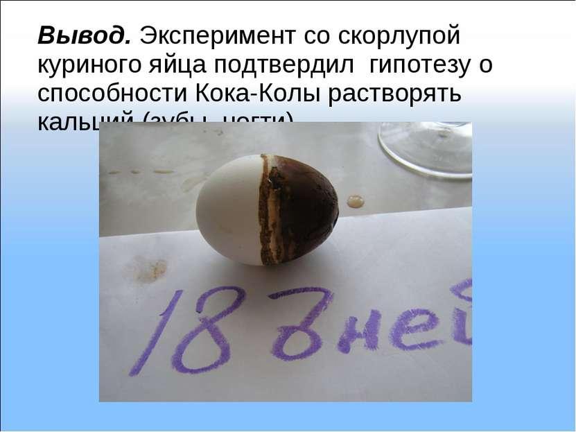 Вывод. Эксперимент со скорлупой куриного яйца подтвердил гипотезу о способнос...