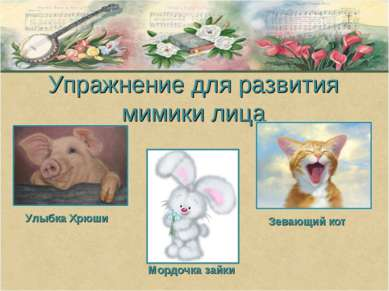 Упражнение для развития мимики лица Улыбка Хрюши Мордочка зайки Зевающий кот
