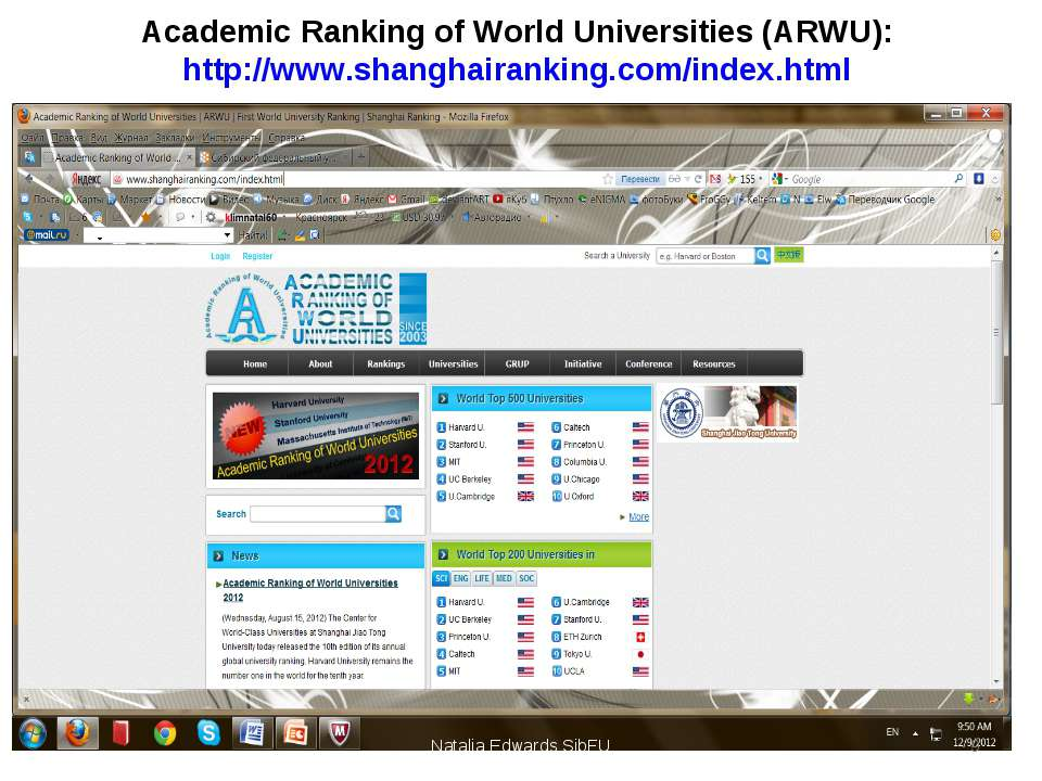 Academic Ranking of World Universities (ARWU): http://www.shanghairanking.com...