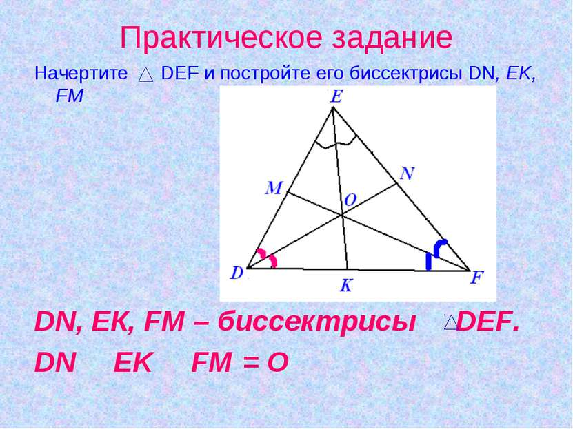 Практическое задание Начертите DEF и постройте его биссектрисы DN, EK, FM DN,...