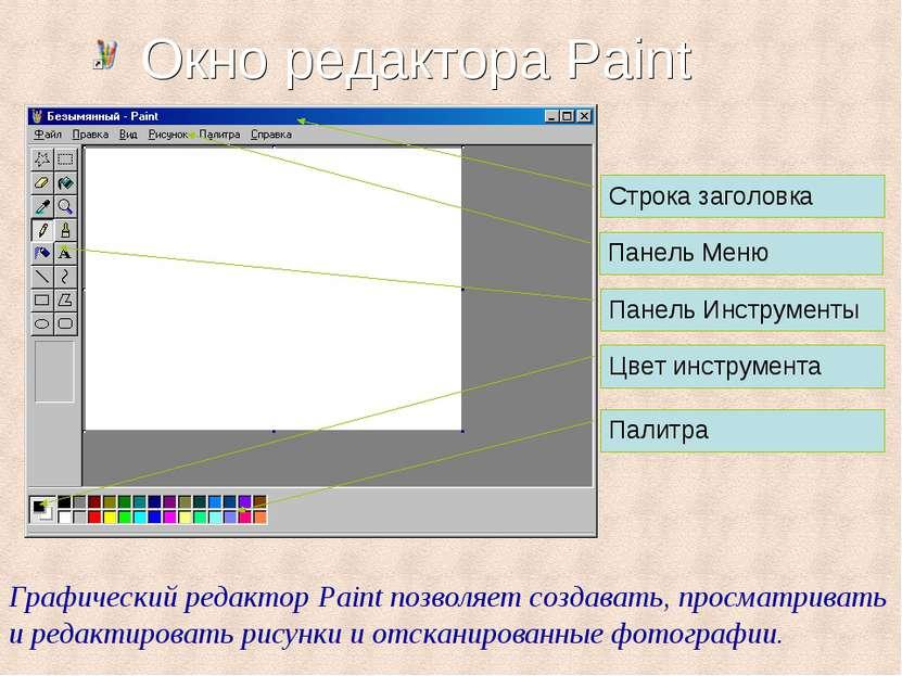 Окно редактора Paint Строка заголовка Панель Меню Панель Инструменты Цвет инс...