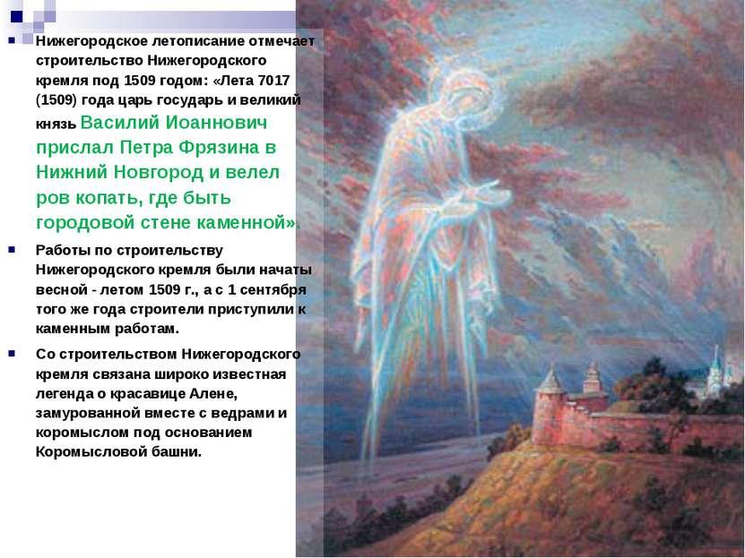 Нижегородское летописание отмечает строительство Нижегородского кремля под 15...