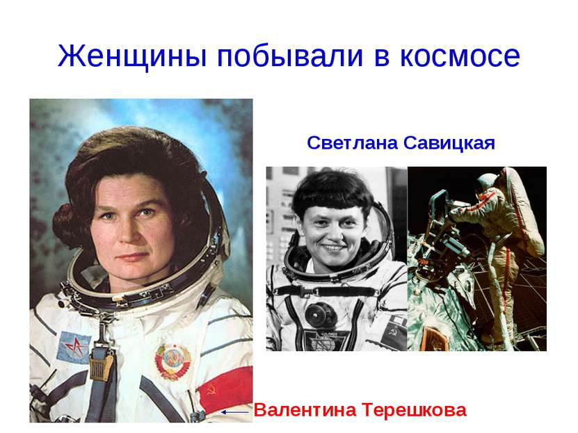 Женщины побывали в космосе Светлана Савицкая Валентина Терешкова
