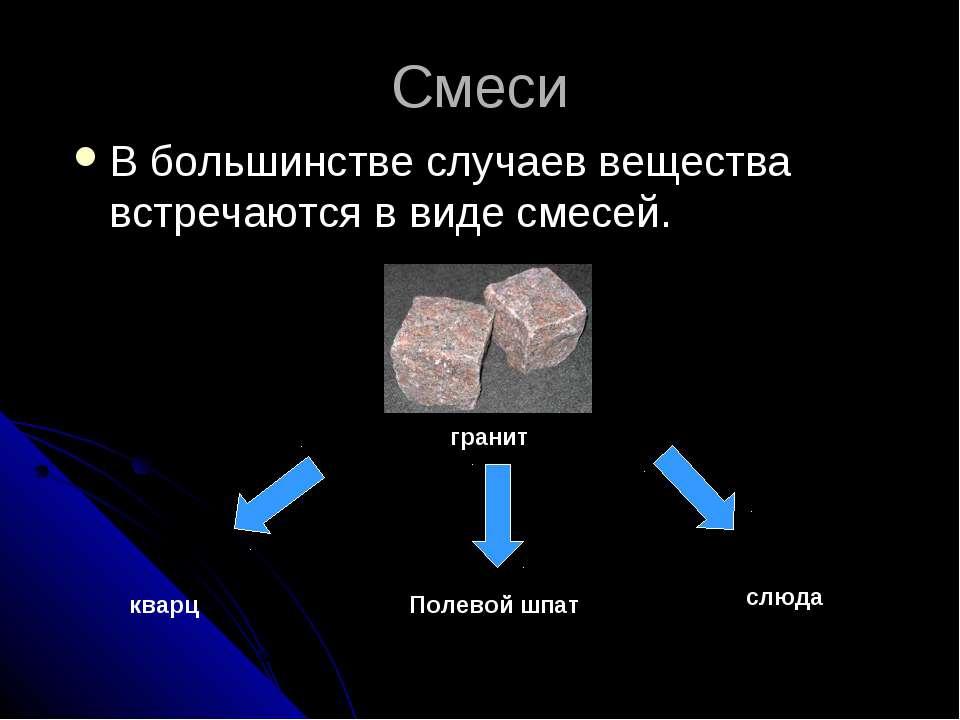 Смеси В большинстве случаев вещества встречаются в виде смесей. гранит кварц ...