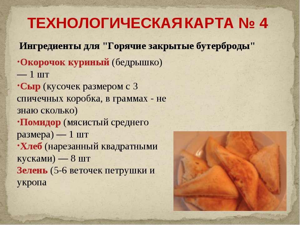"""Ингредиенты для """"Горячие закрытые бутерброды"""" Окорочок куриный (бедрышко) — 1..."""