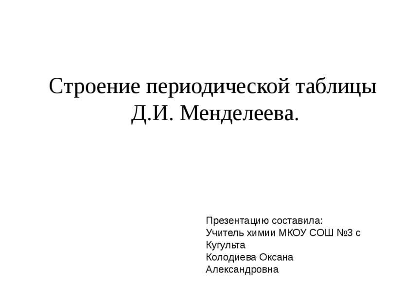 Строение периодической таблицы Д.И. Менделеева. Презентацию составила: Учител...