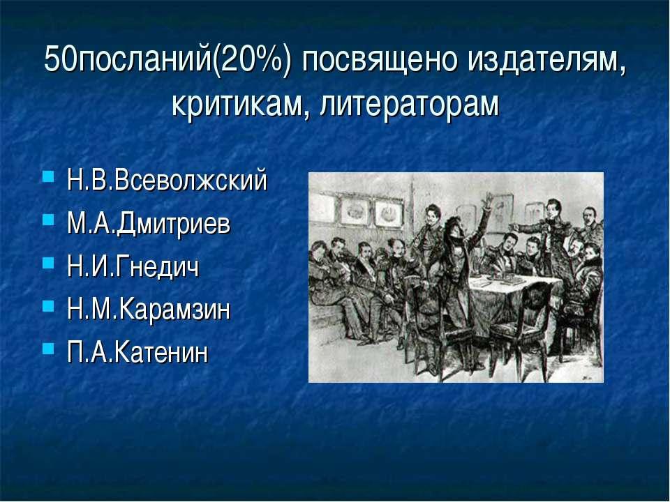 50посланий(20%) посвящено издателям, критикам, литераторам Н.В.Всеволжский М....