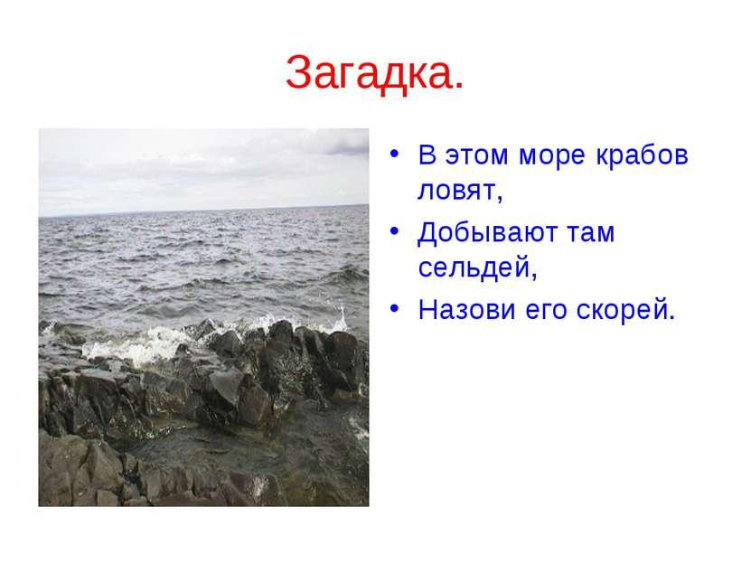 Загадка. В этом море крабов ловят, Добывают там сельдей, Назови его скорей.