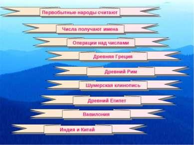 Первобытные народы считают Числа получают имена Операции над числами Древняя ...