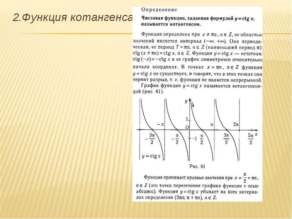 2.Функция котангенса.