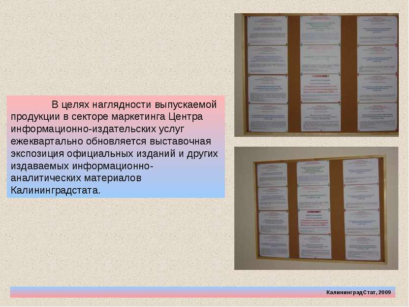 КалининградСтат, 2009 В целях наглядности выпускаемой продукции в секторе мар...