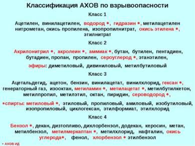 Классификация АХОВ по взрывоопасности Класс 1 Ацетилен, винилацетилен, водоро...