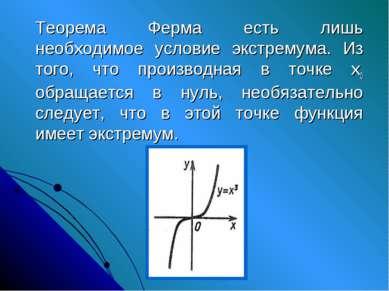 Теорема Ферма есть лишь необходимое условие экстремума. Из того, что производ...
