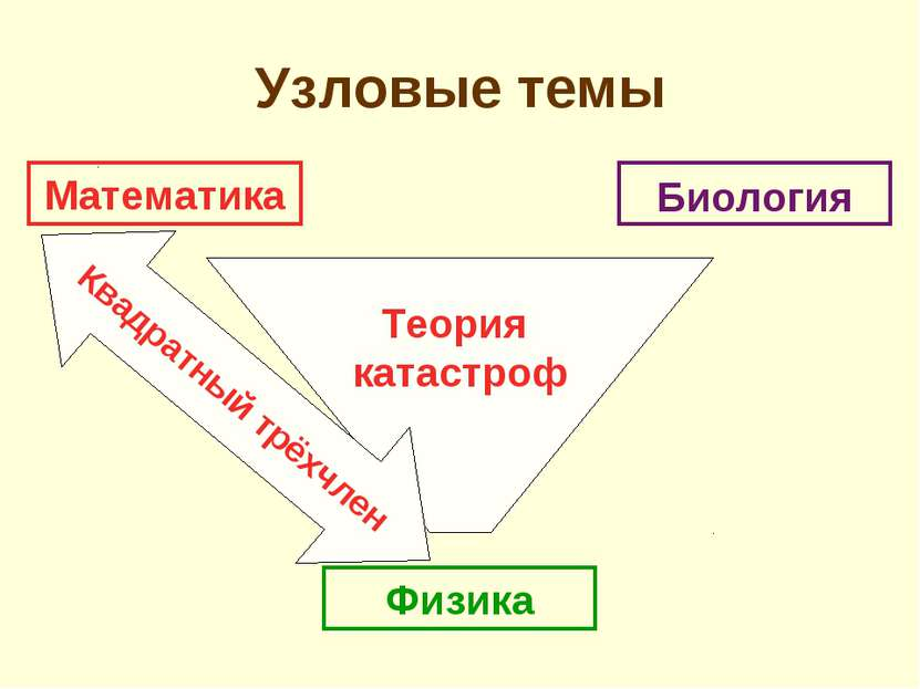 Теория катастроф Квадратный трёхчлен Узловые темы Математика Биология Физика
