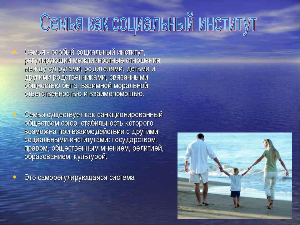 Семья - особый социальный институт, регулирующий межличностные отношения межд...