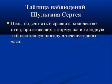 Таблица наблюдений Шульгина Сергея Цель: подсчитать и сравнить количество пти...