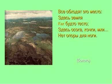 Все обходят это место: Здесь земля Как будто тесто; Здесь осока, кочки, мхи… ...