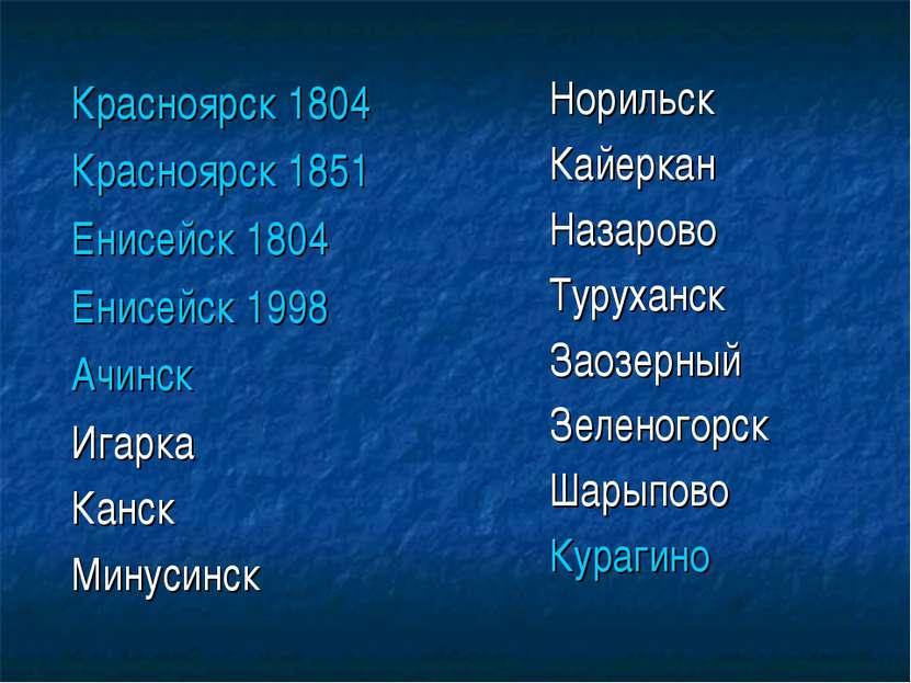 Красноярск 1804 Красноярск 1851 Енисейск 1804 Енисейск 1998 Ачинск Игарка Кан...
