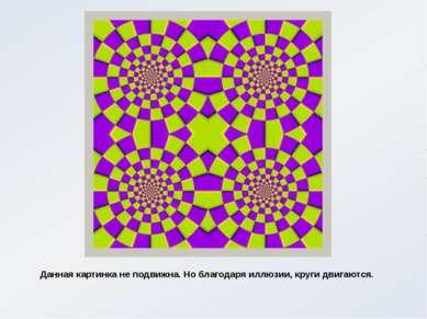 Данная картинка не подвижна. Но благодаря иллюзии, круги двигаются.