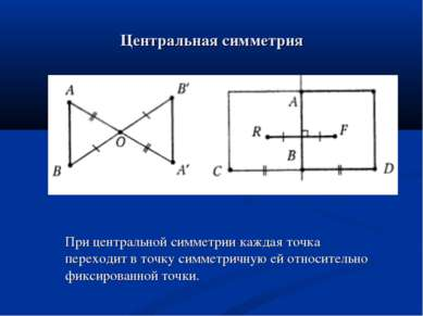 Центральная симметрия При центральной симметрии каждая точка переходит в точк...