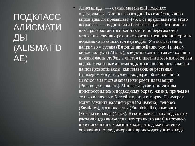 Алисматиды —- самый маленький подкласс однодольных. Хотя в него входит 14 сем...