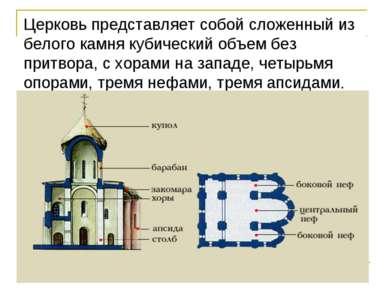 Церковь представляет собой сложенный из белого камня кубический объем без при...