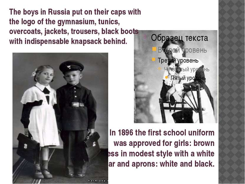 In 1896 the first school uniform was approved for girls: brown dress in modes...
