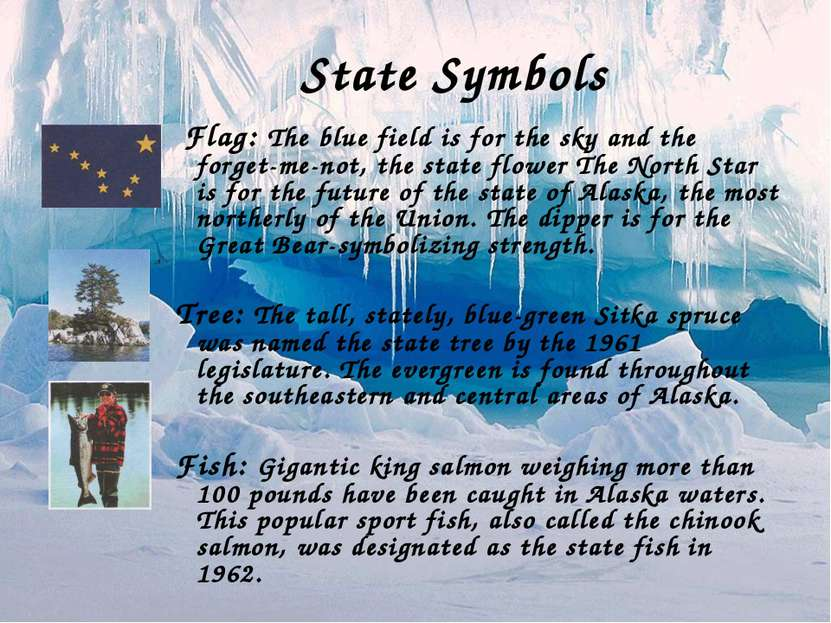 State Symbols Flag: The blue field is for the sky and the forget-me-not, the ...