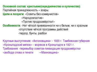 Основной состав: крестьяне(середнячество и кулачество) Партийная принадлежнос...