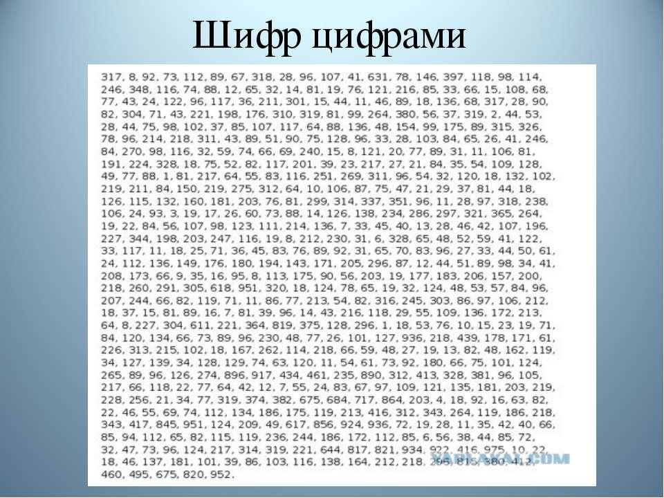 Шифр цифрами