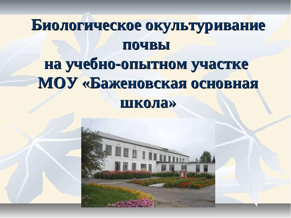 Биологическое окультуривание почвы на учебно-опытном участке МОУ «Баженовская...