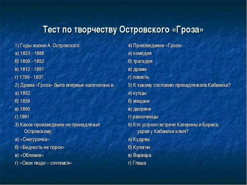 Тест по творчеству Островского «Гроза» 1) Годы жизни А. Островского: а) 1823 ...