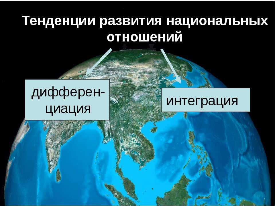 Тенденции развития национальных отношений дифферен-циация интеграция
