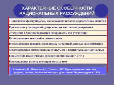 ХАРАКТЕРНЫЕ ОСОБЕННОСТИ РАЦИОНАЛЬНЫХ РАССУЖДЕНИЙ Применение формулировок, вкл...