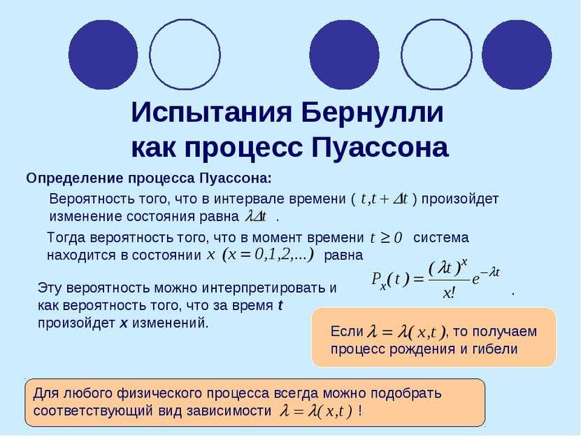 Испытания Бернулли как процесс Пуассона Определение процесса Пуассона: . Эту ...