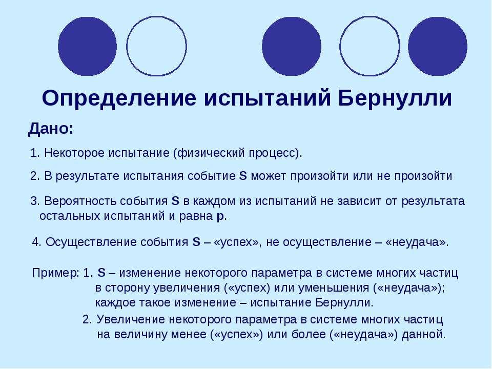 Определение испытаний Бернулли Дано: 1. Некоторое испытание (физический проце...