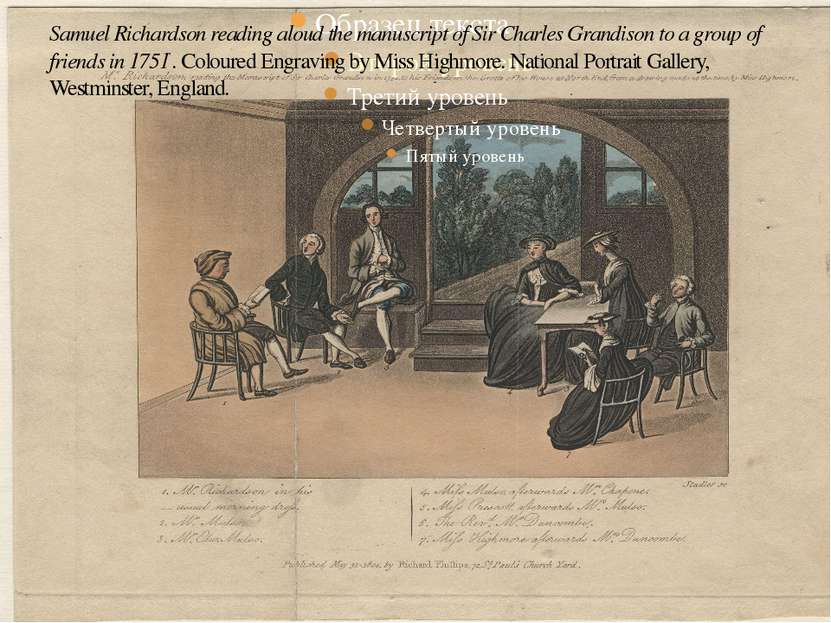 Samuel Richardson reading aloud the manuscript of Sir Charles Grandison to a ...