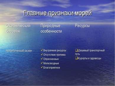 Главные признаки морей Океанический бассейн Природные особенности Ресурсы Атл...