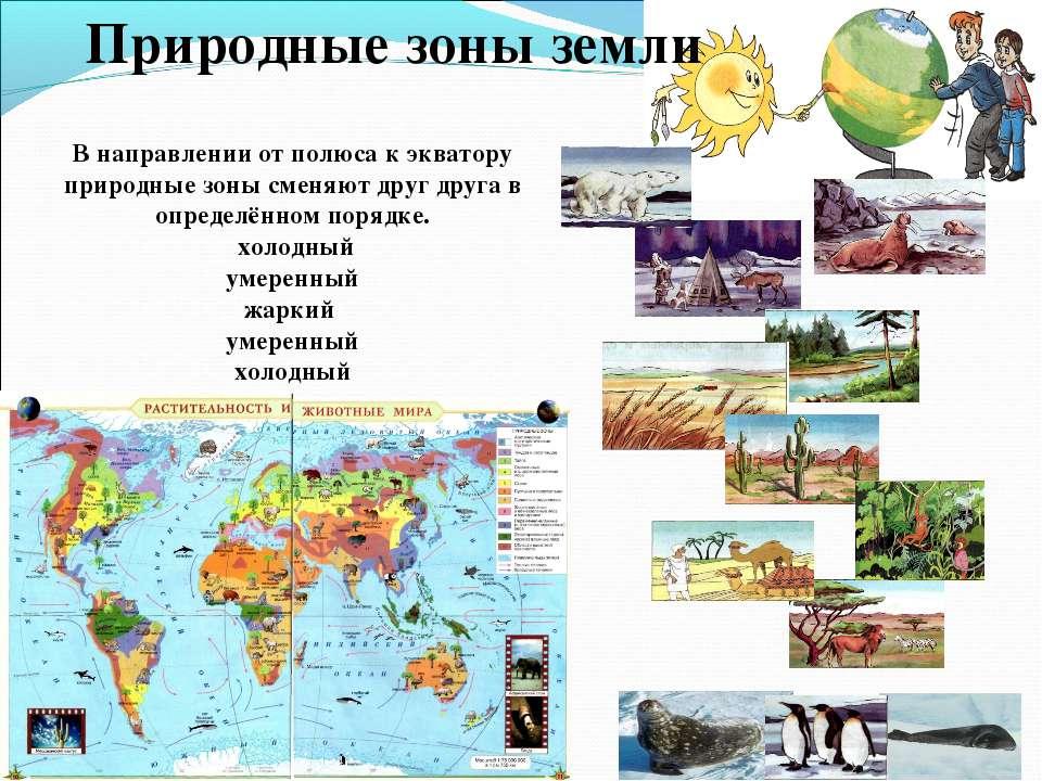 Природные зоны земли В направлении от полюса к экватору природные зоны сменяю...