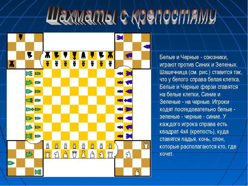 Белые и Черные - союзники, играют против Синих и Зеленых. Шашечница (см. рис....