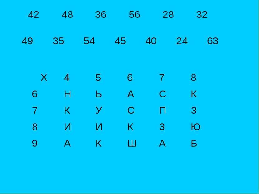 49 35 54 45 40 24 63 X 4 5 6 7 8 6 Н Ь А С К 7 К У С П З 8 И И К З Ю 9 А К Ш А Б