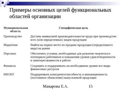 Примеры основных целей функциональных областей организации Макарова Е.А.