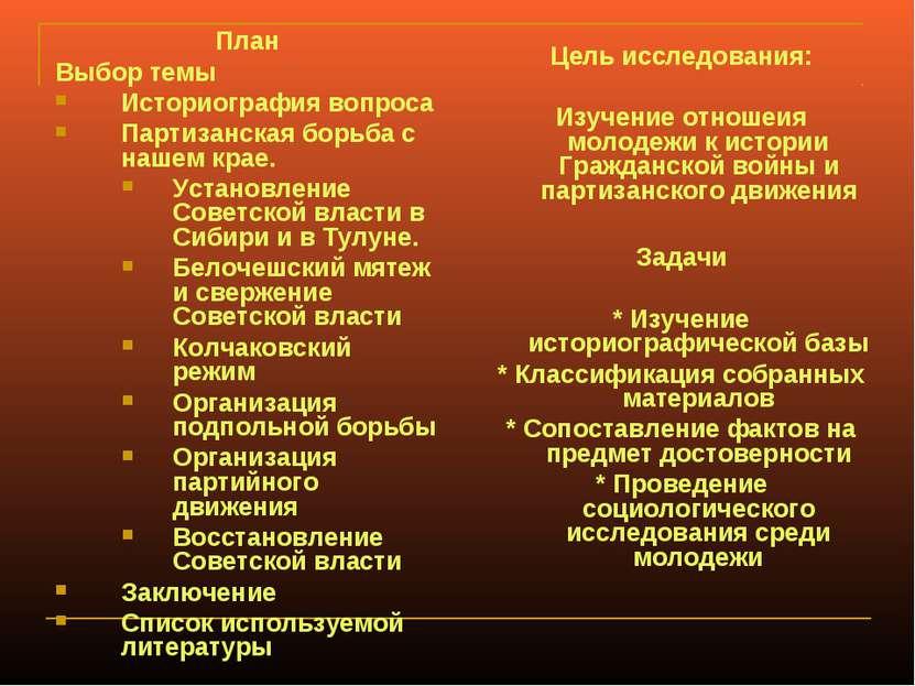 План Выбор темы Историография вопроса Партизанская борьба с нашем крае. Устан...
