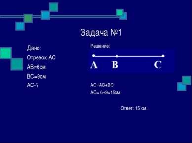 Задача №1 Решение: AC=AB+BC AC= 6+9=15см Ответ: 15 см. Дано: Отрезок АС АВ=6с...