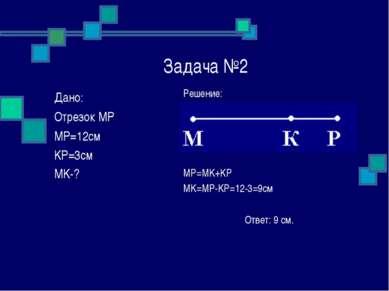 Задача №2 Решение: MP=MK+KP MK=MP-KP=12-3=9см Ответ: 9 см. Дано: Отрезок MP M...
