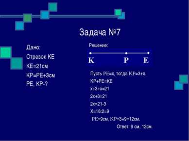 Задача №7 Решение: Пусть PE=x, тогда KP=3+x. KP+PE=KE x+3+x=21 2x+3=21 2x=21-...