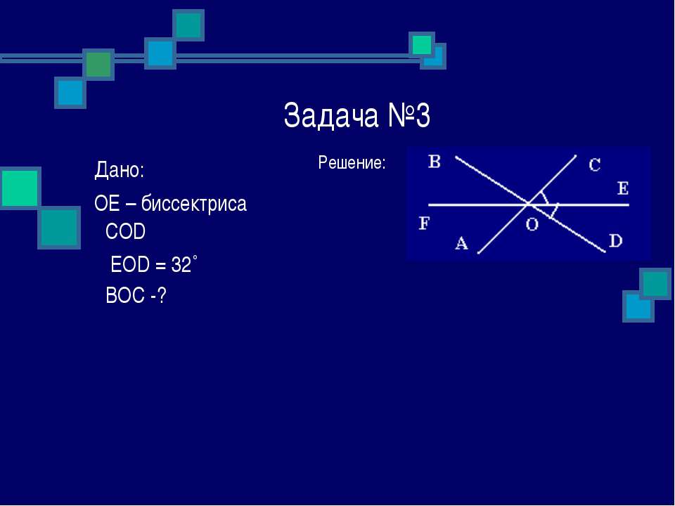 Задача №3 Решение: Дано: OE – биссектриса ےCOD ے EOD = 32˚ ےBOC -?