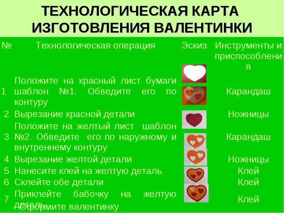 ТЕХНОЛОГИЧЕСКАЯ КАРТА ИЗГОТОВЛЕНИЯ ВАЛЕНТИНКИ - Оформите валентинку № Техноло...