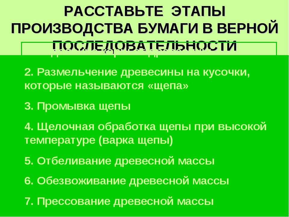 РАССТАВЬТЕ ЭТАПЫ ПРОИЗВОДСТВА БУМАГИ В ВЕРНОЙ ПОСЛЕДОВАТЕЛЬНОСТИ 1. Отделение...