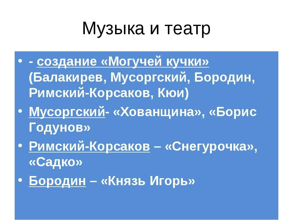 Музыка и театр - создание «Могучей кучки» (Балакирев, Мусоргский, Бородин, Ри...